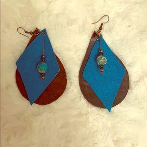 Handmade leather earrings